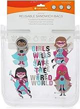 مجموعة أكياس الساندويش قابلة لإعادة الاستخدام للأطفال من زيبتيك دائرية كاملة، أبطال الفتيات