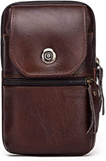 European and American Head Layer Cowhide Fanny Pack Double Zipper Multi-Function Bag Fanny Pack Mobile Phone Fanny Pack (Color : Brown, Size : S)