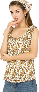 Allegra K Women's Floral Print Chiffon Blouse Casual U Neck Tank Tops
