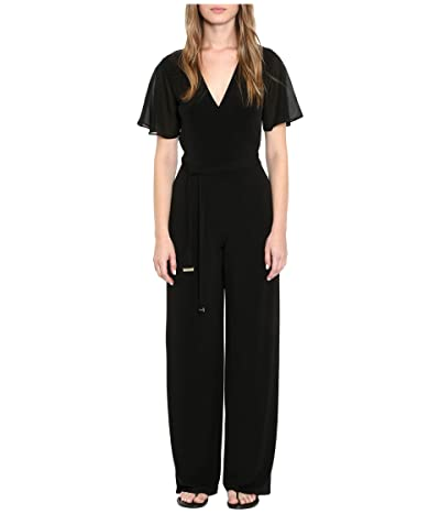MICHAEL Michael Kors Tie Waist Wrap Jumpsuit (Black) Women