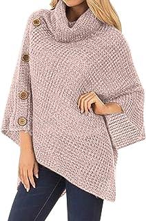Style Dome Ponchos y Capas de Punto para Mujer Elegantes para Invierno Gran Poncho De Cuello Alto con Botón Suéter de Punt...