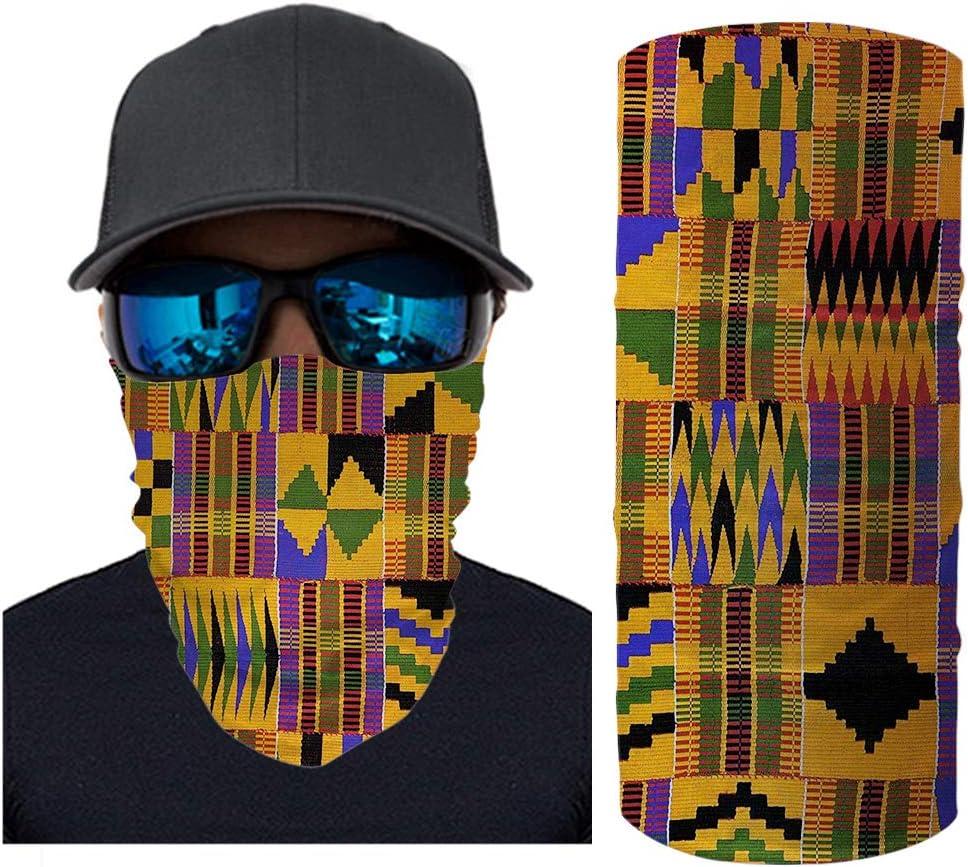 doginthehole African Ethnic Print Bandana Headband Sun UV Protection Neck Gaiter Face Scarf Dust Wind Balaclava Headwear for Cycling Riding
