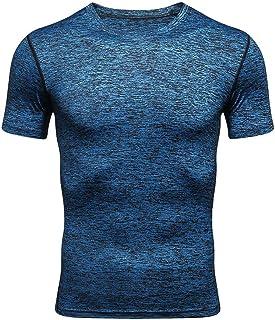 تي شيرت رجالي من Foowni للياقة البدنية بأكمام قصيرة Rashguard قميص كمال الاجسام بقمم ضيقة التجفيف
