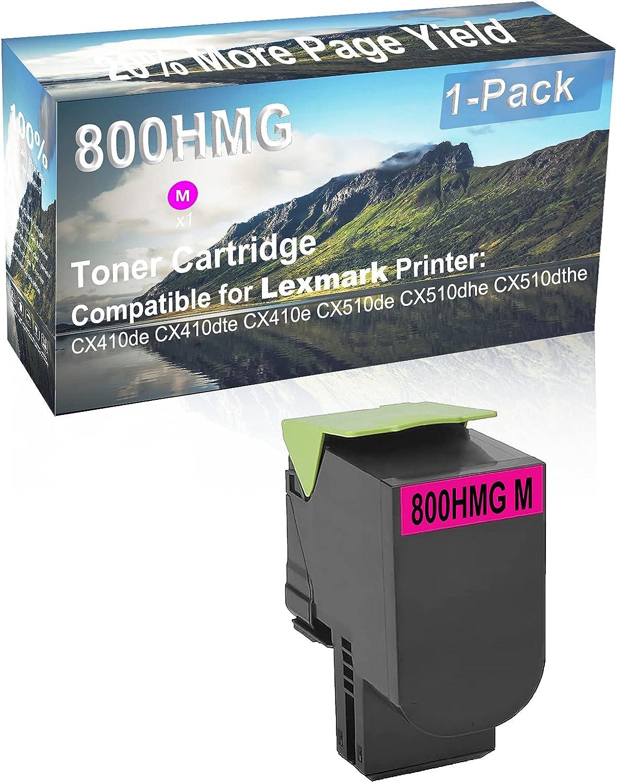 1-Pack (Magenta) Compatible CX410e, CX510de Printer Toner Cartridge High Capacity Replacement for Lexmark 800HMG Toner Cartridge