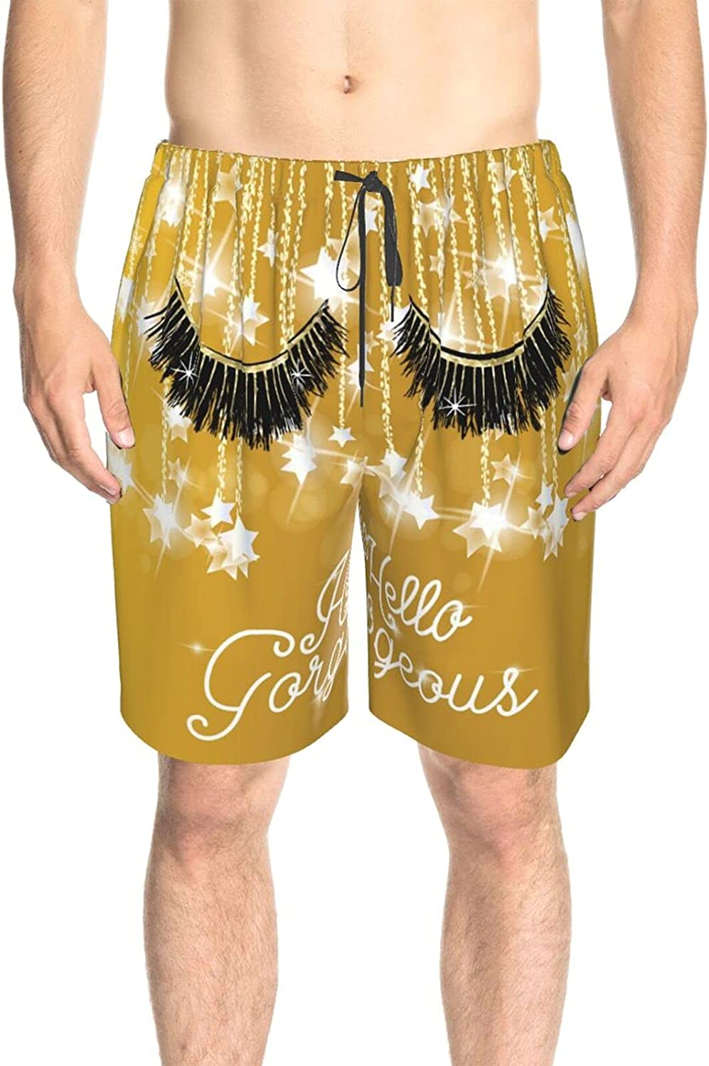 Men's Swim Shorts Hello Gorgeous Golden Sprinkle Swim Boardshorts Quick Dry Cool Summer Beach Shorts with Liner