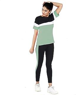 Shocknshop Color Block Colored Pullover Tee & Leggings Pants Tracksuit Set for Women (LEG83)