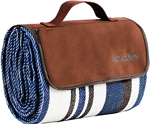 Extra Large Picnic & Outdoor Blanket Dual Layers for Outdoor Water-Resistant Handy Mat Tote Spring Summer Blue and Wh...