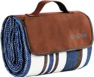 Extra Large Picnic & Outdoor Blanket Dual Layers For Outdoor Water-Resistant Handy Mat Tote Spring Summer Blue and White S...