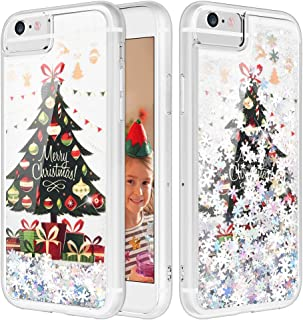 iPhone 6S Plus Case, Caka Flowing Liquid Floating Luxury Bling Glitter Sparkle Soft TPU Christmas Case for iPhone 6 Plus 6S Plus 7 Plus 8 Plus (5.5 inch) (Tree)