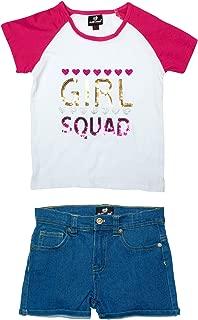 Dollhouse Traje de Verano de 2 Piezas cómodo para niñas con Pantalones Cortos de Mezclilla y Parte Superior Tejida