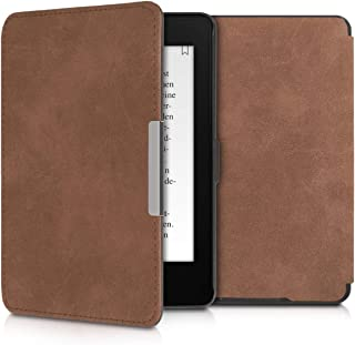 kwmobile Case for Amazon Kindle Paperwhite - Book Style Faux Suede e-Reader Cover with Magnetic Closure - Brown