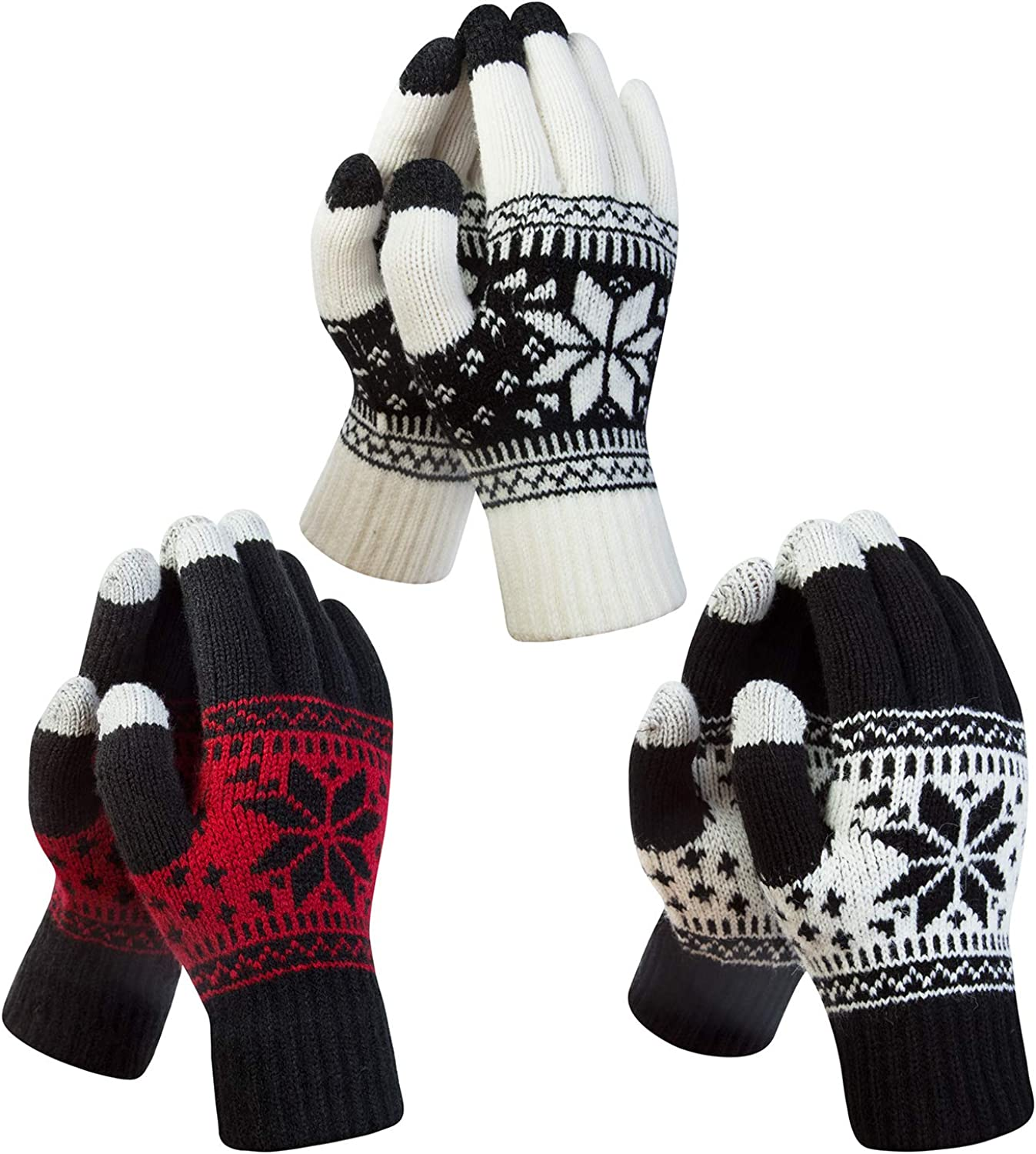 YSense 3 Pairs Touch Screen Gloves Snow Flower, Warm Knit Winter Gloves Christmas Gifts Stocking Stuffers for Women