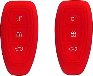🌠 BAR Autotech 🌠 Silicone Rubber Shell Case Keyless Entry Car Remote Key Fob Cover fit for Ford Focus 3 Escape Fiesta ST Titanium Mondeo Ecosport Kuga MK3 3 Buttons (1 Pair) (Red)