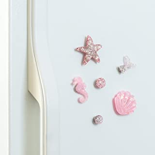 Refrigerator Magnets - Sparkly Decorative Fridge Magnet Set - 6 Fridge Magnets for Cabinets, Whiteboards & Lockers - Colorful Magnets for Gift, Home Decor & Practical use - Marine Pink