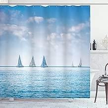 Ambesonne Ocean Shower Curtain, Sail Boats Sea Regatta Race Sports Panoramic View Seascape Summer Sky Photo, Cloth Fabric Bathroom Decor Set with Hooks, 75