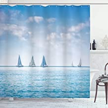 Ambesonne Ocean Shower Curtain, Sail Boats Sea Regatta Race Sports Panoramic View Seascape Summer Sky Photo, Cloth Fabric Bathroom Decor Set with Hooks, 75 Long, Blue White