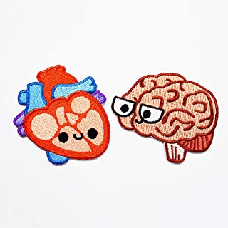 Heart Embroidered Patch, Brain Embroidered Patch, Heart Iron On, Brain Iron On, Anatomy Embroidered Patch, Science Iron On Patch, Biology Iron On Patch, Cute Embroidered Patch