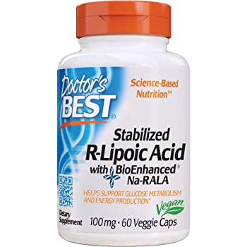 Doctor's Best Stabilized R-Lipoic Acid with BioEnhanced Na-RALA, Non-GMO, Gluten Free, Vegan, Helps Maintain Blood Sugar Levels, 100 mg 60 Veggie Caps (DRB-00123)
