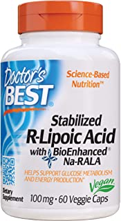 Doctor's Best Stabilized R-Lipoic Acid with BioEnhanced Na-RALA, Non-GMO, Gluten Free, Vegan, Helps Maintain Blood Sugar L...
