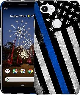 Inkmodo - Designer Hard Case for Google Pixel 3A / Pixel 3 Lite - Thin Blue Line USA Police Flag Printed Slim Profile Cute Plastic Snap on Back Cover