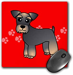 3dRose LLC 8 x 8 x 0.25 Inches Mouse Pad, Miniature Schnauzer Banded Brown Base Coat Salt and Pepper Cartoon Dogred with Pawprints (mp_40887_1)