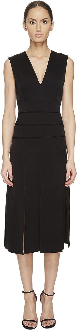 Mech Stretch Crepe V-Neck Carwash Dress
