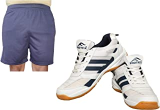 FOOTFIX Men's Ryder White Blue (Non Marking) Gym, Badminton Sports Shoes with Free Blue Shorts