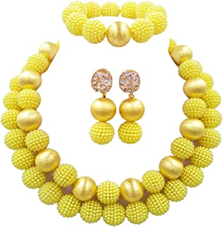 laanc Women 2 Rows Multicolor Imitation Pearl Gold Ball African Beads,Nigerian Gift Wedding Jewelry Sets