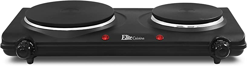 Maxi-Matic EDB-302BF Countertop Double Electric Hot Burner Dual Temperature Controls, Flat cast iron heating plates, Power Indicator Lights, Easy to Clean, 1500 Watts, Black
