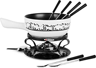 Swissmar Cheese Fondue Sets - Includes Ceramic Pots, Rechauds, Six (6) Fondue Forks, Fondue Burner, and Recipe Card (Swissmar Heidi Fondue Set)