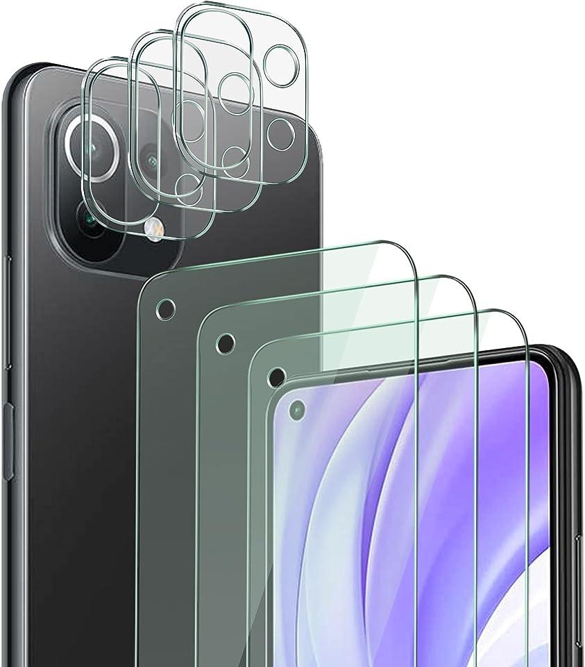 QHOHQ 3 Stück Schutzfolie für Xiaomi Mi 11 Lite 4G & 5G mit 3 Stück Kamera Schutzfolie, Panzerglas Membran, 9H Härte - HD - Anti-Kratz - Blasenfrei - Einfach Installieren