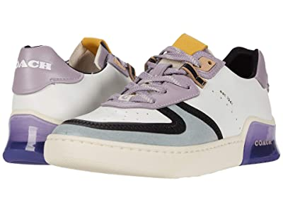 COACH CitySole Court Sneaker (White/Soft Lilac Mixed Material) Women