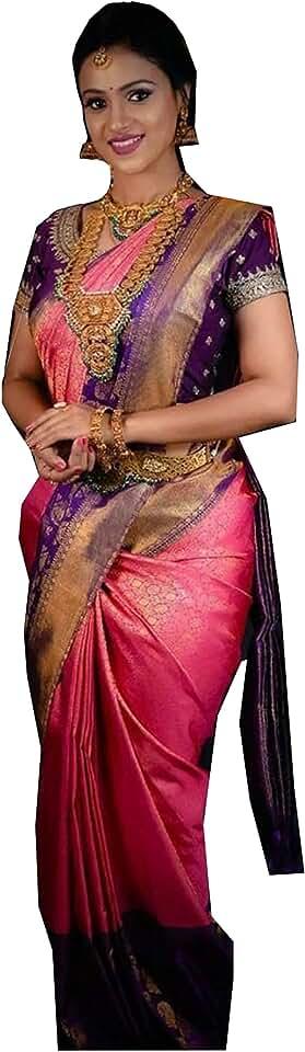 Indian Kabir Fabrics Women's vasttram Kanchipuram Silk kanchi Pattu Saree with Blouse (pink colour) Saree