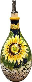 CERAMICHE D'ARTE PARRINI - Italian Ceramic Art Pottery Oil Cruet Bottle Decorated Sunflower Hand Painted Made in ITALY Tuscan