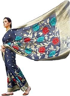 مصمم أزرق للنساء هندي نمط بوليوود ناعم كريستال حريري احتفالي ارتداء ساري مع بلوزة قطعة أثرية Hit 6063