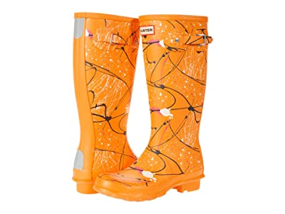 Hunter Kids Original Molecular Splash Print Wellington Boots (Little Kid/Big Kid) (Molecular Splash Carmel Orange) Kid