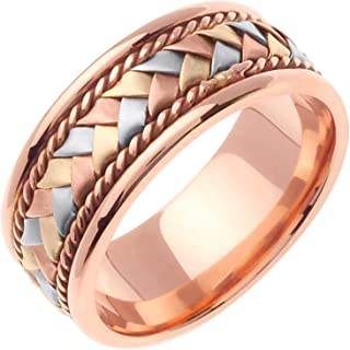 14K Tri Color Gold Braided Basket Weave Men's Comfort Fit Wedding Band (8.5mm)