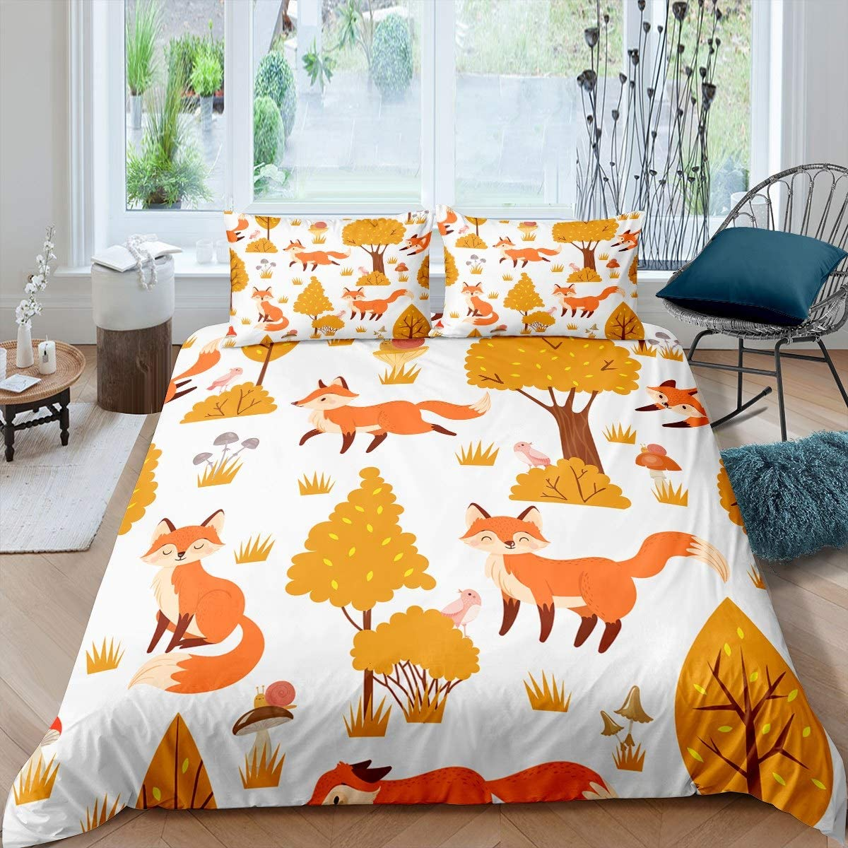 Cute Foxes Birds Snails Pattern Duvet Grass 安全 ギフ_包装 Kids Trees Cover for
