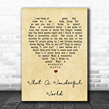 What A Wonderful World Vintage Heart Song Lyric Quote Print
