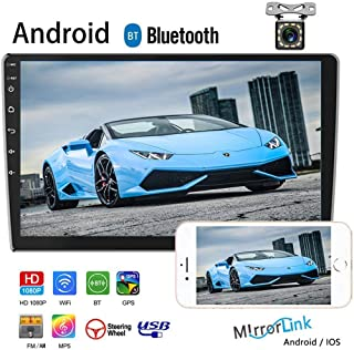 "Camecho Double Din Car Stereo with Bluetooth Android Auto 9"" 2.5D HD Touch Screen Car Radio GPS Navigation WiFi FM/AM Radio Support Mirror Link SWC Dual USB+Rear View Camera"