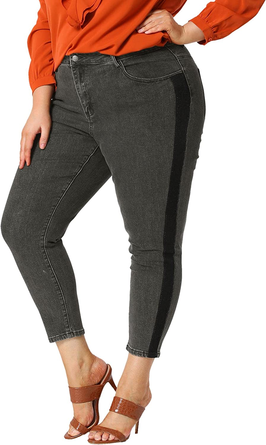 Agnes Orinda Women's Jeans Color Contrast Panel Mid Rise Stretched Skinny Jean