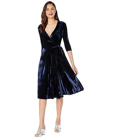 Unique Vintage 1940s Style Velvet Kelsie Wrap Dress (Navy) Women
