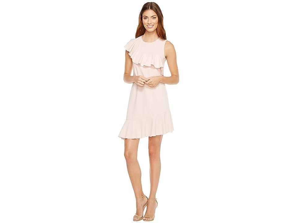 Donna Morgan Sleeveless Asymmetrical Ruffle Dress (Blush Pink) Women