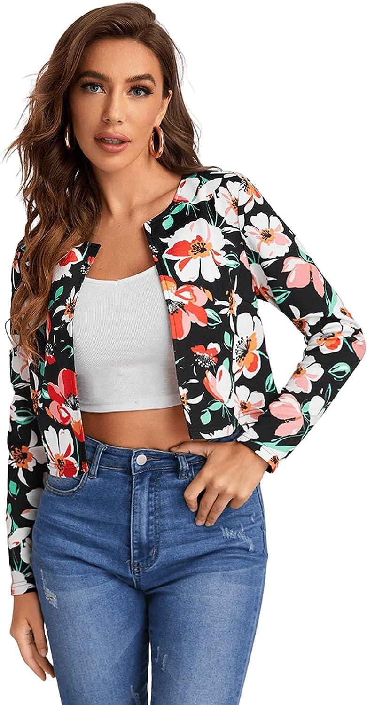 Milumia Women's Floral Print Open Front Crop Jacket Casual Lightweight Blazer Outwear