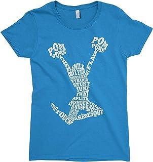 Threadrock Big Girls' Cheerleader Cheer Typography Fitted T-Shirt