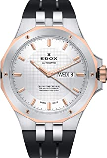 Edox Men's Delfin The Original 43mm Black Rubber Band Steel Case Automatic Analog Watch 88005 357RCA AIR