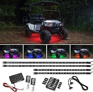 کیت روشنایی نئون برای سبد گلف LEDGlow 4pc میلیون رنگی گلف لامپ زیرنویس مخصوص اتومبیل EZGO Yamaha Club - متناسب با چرخ دستی های گلف برقی و گازی - مقاوم در برابر آب - شامل جعبه کنترل و کنترل از راه دور بی سیم