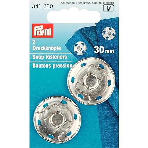 Prym 30mm Boutons à pression à coudre, Lot de 2, en laiton argent