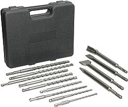 ECD Germany 13-piezas Juego de Brocas y Cinceles SDS Plus con caja de taladro de almacenamiento incluído Juego de taladros SD Plus de alta calidad con juego mediciones Taladros de 3 tamaños diferentes