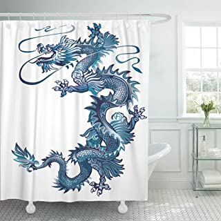 Emvency Shower Curtain China Moving Up Blue Oriental Dragon on White River Shower Curtains Sets with Hooks 60 x 72 Inches Waterproof Polyester Fabric